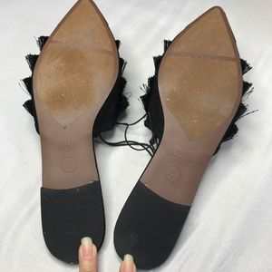 Who What Wear Shoes - Who What Wear Annie Fringe Pointy Toe Flats Mules